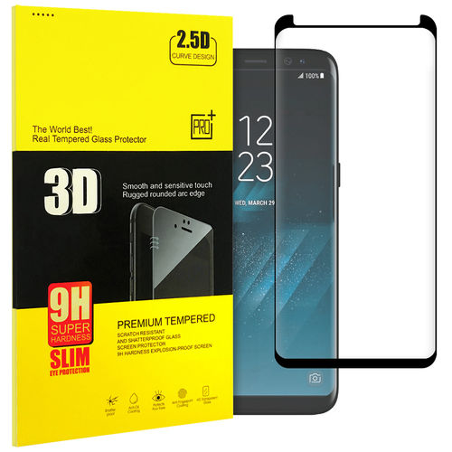 Case Friendly 3D Tempered Glass Screen Protector - Samsung Galaxy S8 - Black